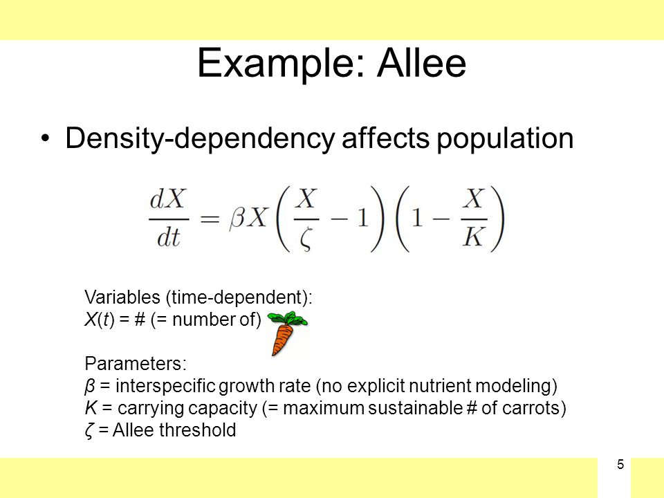 5 Example: Allee Density-dependency affects population Variables (time-dependent): X(t) = # (= number of) Parameters: β = interspecific growth rate (no explicit nutrient modeling) K = carrying capacity (= maximum sustainable # of carrots) ζ = Allee threshold