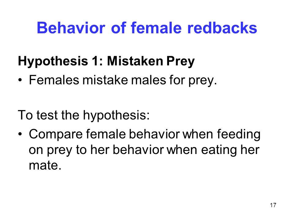 17 Behavior of female redbacks Hypothesis 1: Mistaken Prey Females mistake males for prey. To test the hypothesis: Compare female behavior when feedin