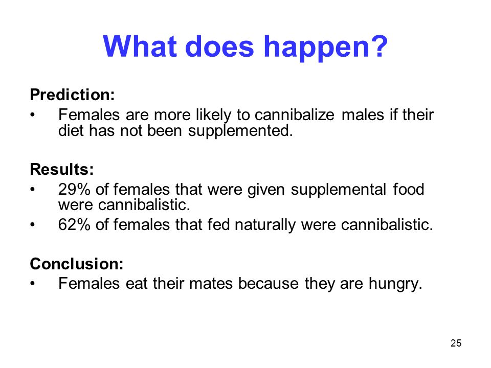25 What does happen? Prediction: Females are more likely to cannibalize males if their diet has not been supplemented. Results: 29% of females that we