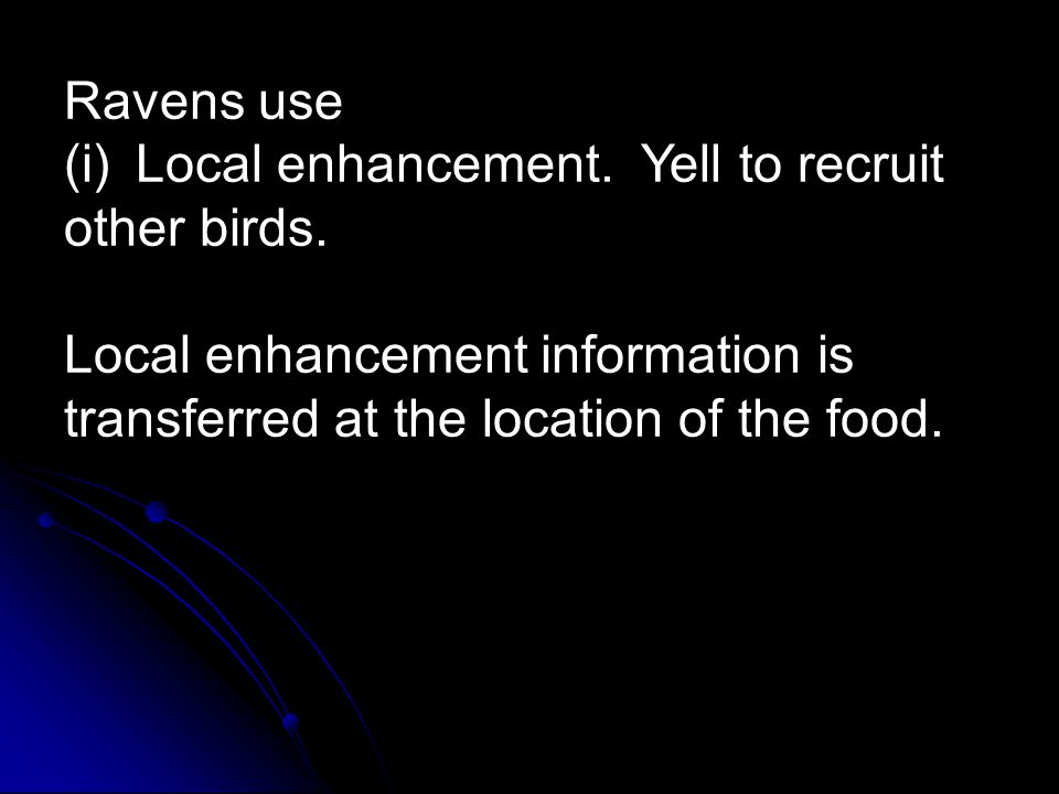 Ravens use (i) Local enhancement. Yell to recruit other birds. Local enhancement information is transferred at the location of the food.