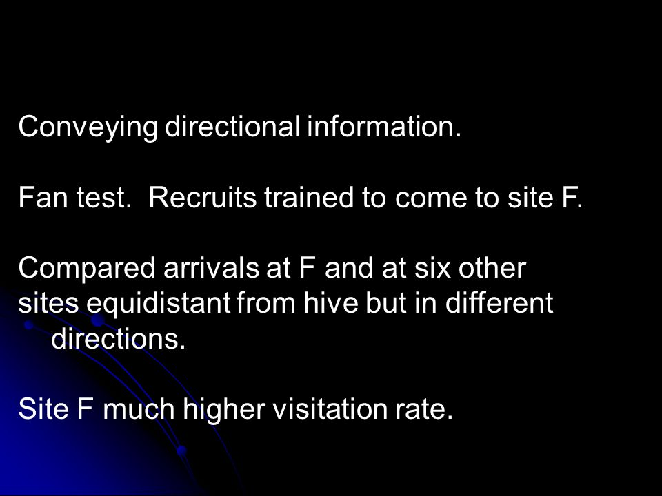 Conveying directional information. Fan test. Recruits trained to come to site F.