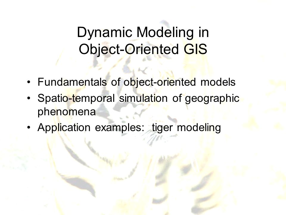 Dynamic Modeling in Object-Oriented GIS Fundamentals of object-oriented models Spatio-temporal simulation of geographic phenomena Application examples
