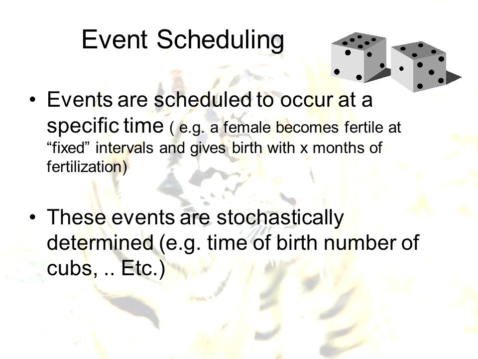 """Event Scheduling Events are scheduled to occur at a specific time ( e.g. a female becomes fertile at """"fixed"""" intervals and gives birth with x months o"""
