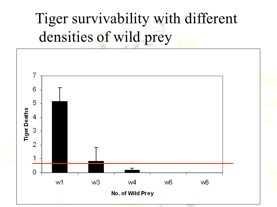 Tiger survivability with different densities of wild prey