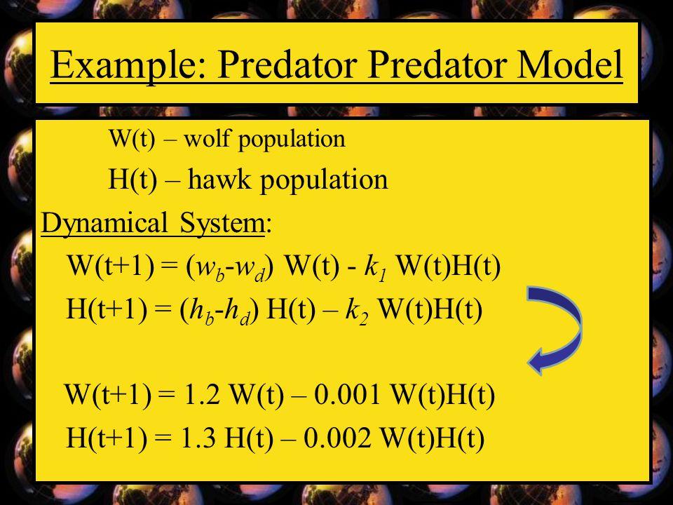 Example: Predator Predator Model W(t) – wolf population H(t) – hawk population Dynamical System: W(t+1) = (w b -w d ) W(t) - k 1 W(t)H(t) H(t+1) = (h b -h d ) H(t) – k 2 W(t)H(t) W(t+1) = 1.2 W(t) – 0.001 W(t)H(t) H(t+1) = 1.3 H(t) – 0.002 W(t)H(t)