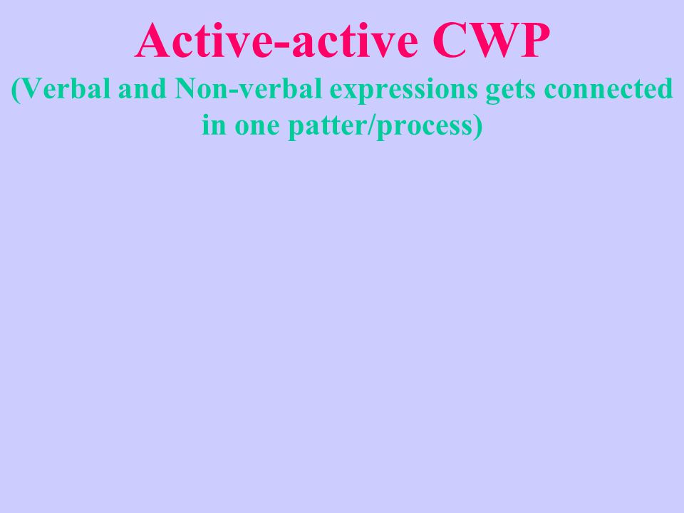 Active-active CWP (Verbal and Non-verbal expressions gets connected in one patter/process)