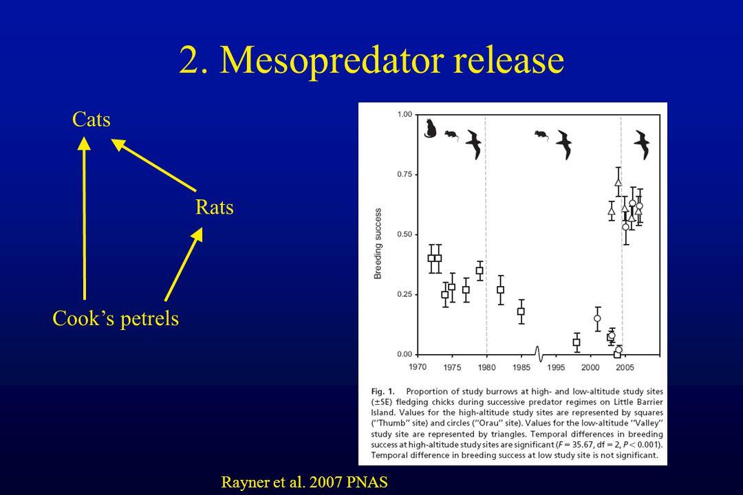 2. Mesopredator release Rayner et al. 2007 PNAS Cats Rats Cook's petrels