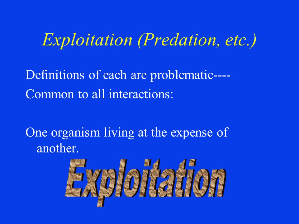 Exploitation (Predation, etc.) Definitions of each are problematic---- Common to all interactions: One organism living at the expense of another.