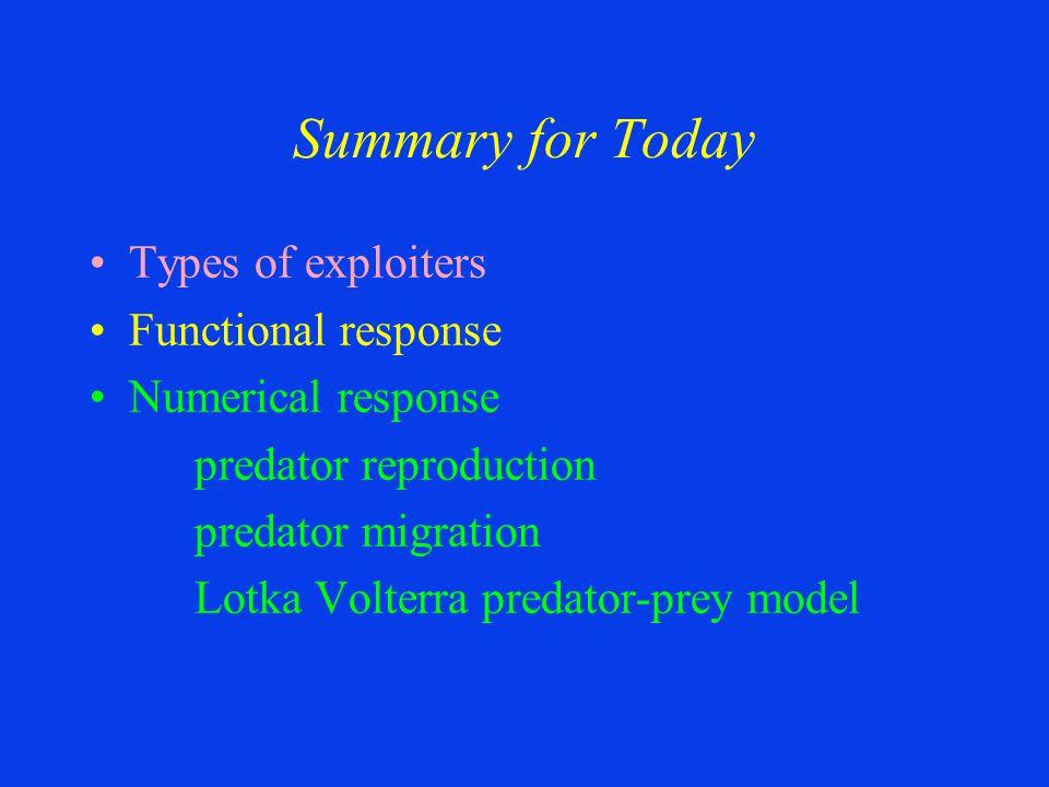 Types of exploiters Functional response Numerical response predator reproduction predator migration Lotka Volterra predator-prey model Summary for Tod