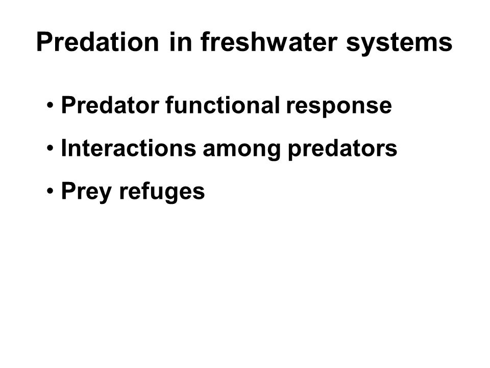 Predation in freshwater systems Predator functional response Interactions among predators Prey refuges