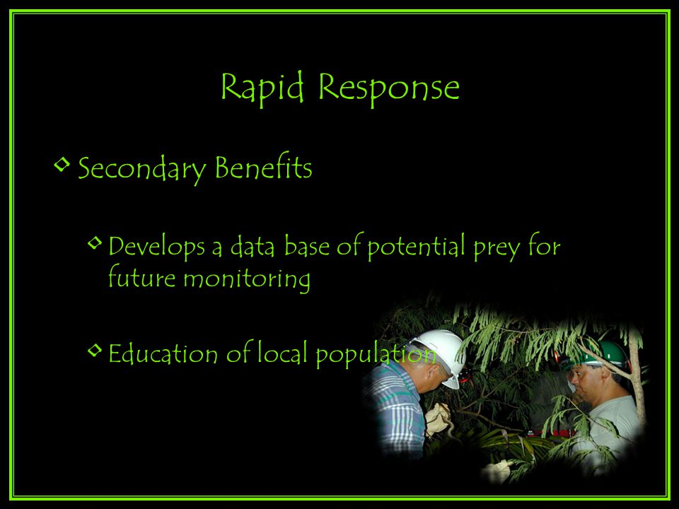 Rapid Response Secondary Benefits Develops a data base of potential prey for future monitoring Education of local population