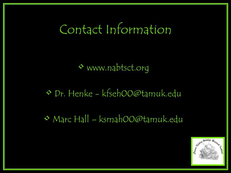 Contact Information www.nabtsct.org Dr. Henke - kfseh00@tamuk.edu Marc Hall – ksmah00@tamuk.edu
