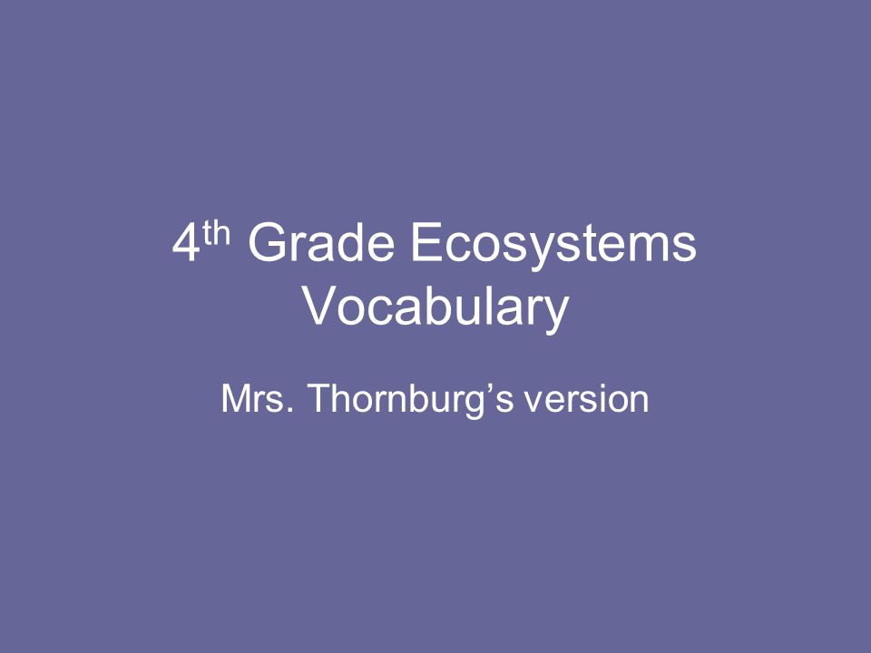 4 th Grade Ecosystems Vocabulary Mrs. Thornburg's version