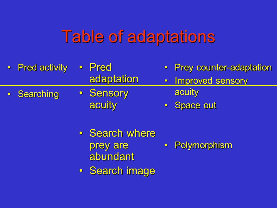 Table of adaptations Pred activityPred activity SearchingSearching Pred adaptationPred adaptation Sensory acuitySensory acuity Search where prey are a