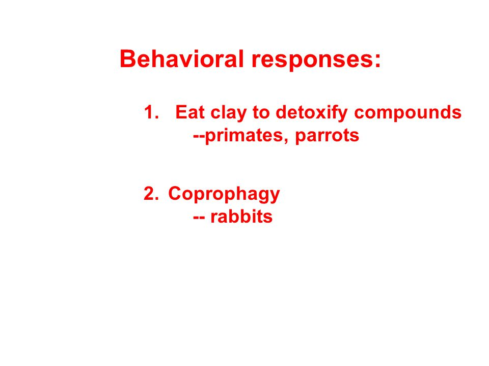 Behavioral responses: 1. Eat clay to detoxify compounds --primates, parrots 2.Coprophagy -- rabbits