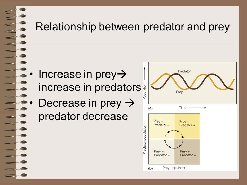 Relationship between predator and prey Increase in prey  increase in predators Decrease in prey  predator decrease