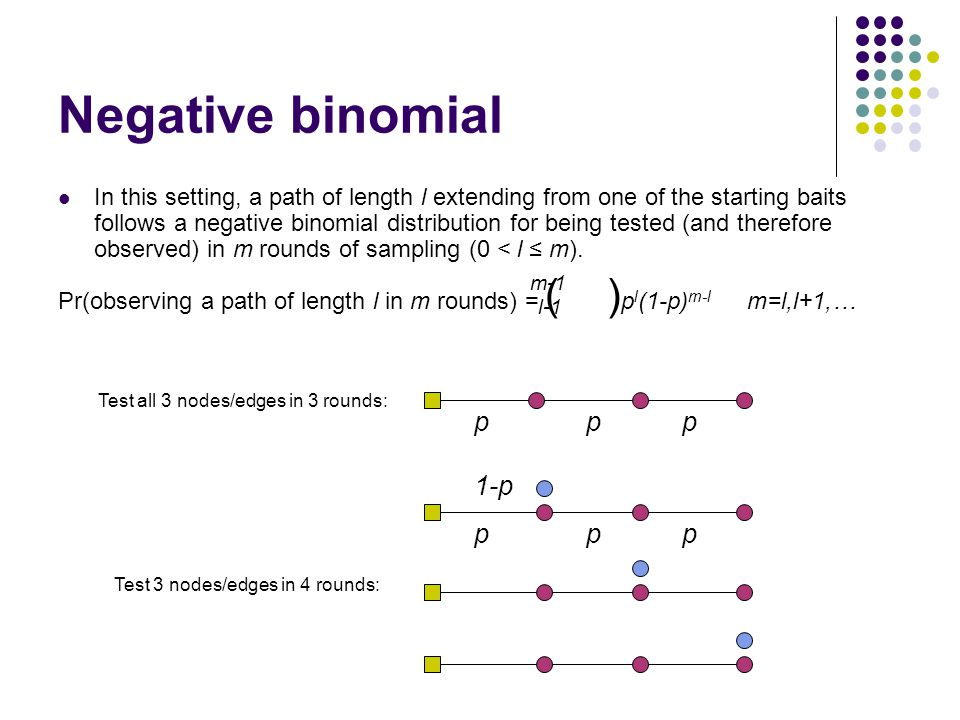 Negative binomial In this setting, a path of length l extending from one of the starting baits follows a negative binomial distribution for being tested (and therefore observed) in m rounds of sampling (0 < l ≤ m).
