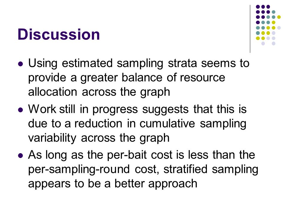 Discussion Using estimated sampling strata seems to provide a greater balance of resource allocation across the graph Work still in progress suggests