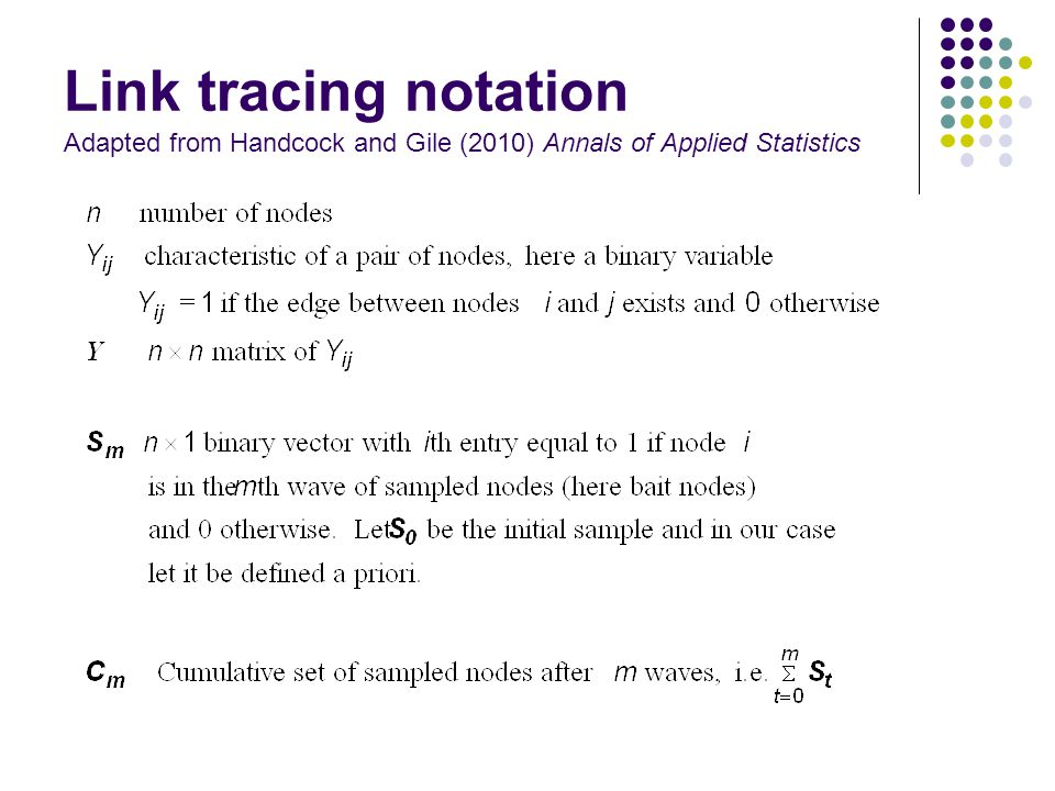 Link tracing notation Adapted from Handcock and Gile (2010) Annals of Applied Statistics