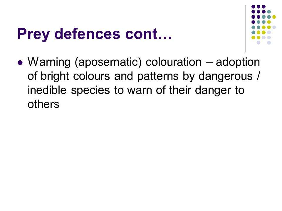Prey defences cont… Warning (aposematic) colouration – adoption of bright colours and patterns by dangerous / inedible species to warn of their danger to others