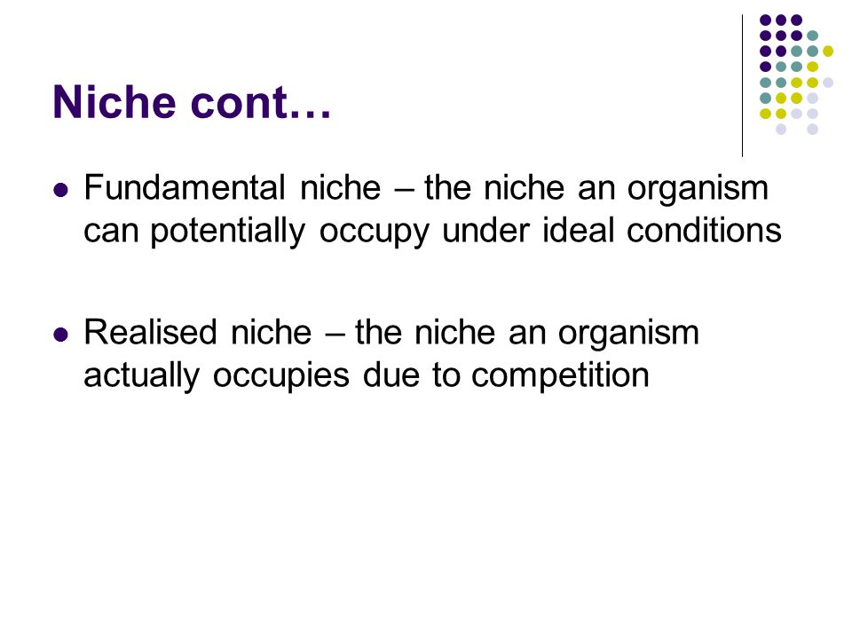 Niche cont… Fundamental niche – the niche an organism can potentially occupy under ideal conditions Realised niche – the niche an organism actually occupies due to competition