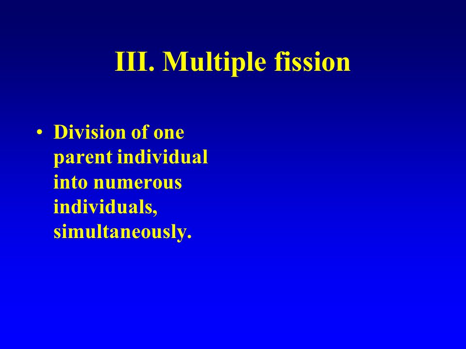 III. Multiple fission Division of one parent individual into numerous individuals, simultaneously.