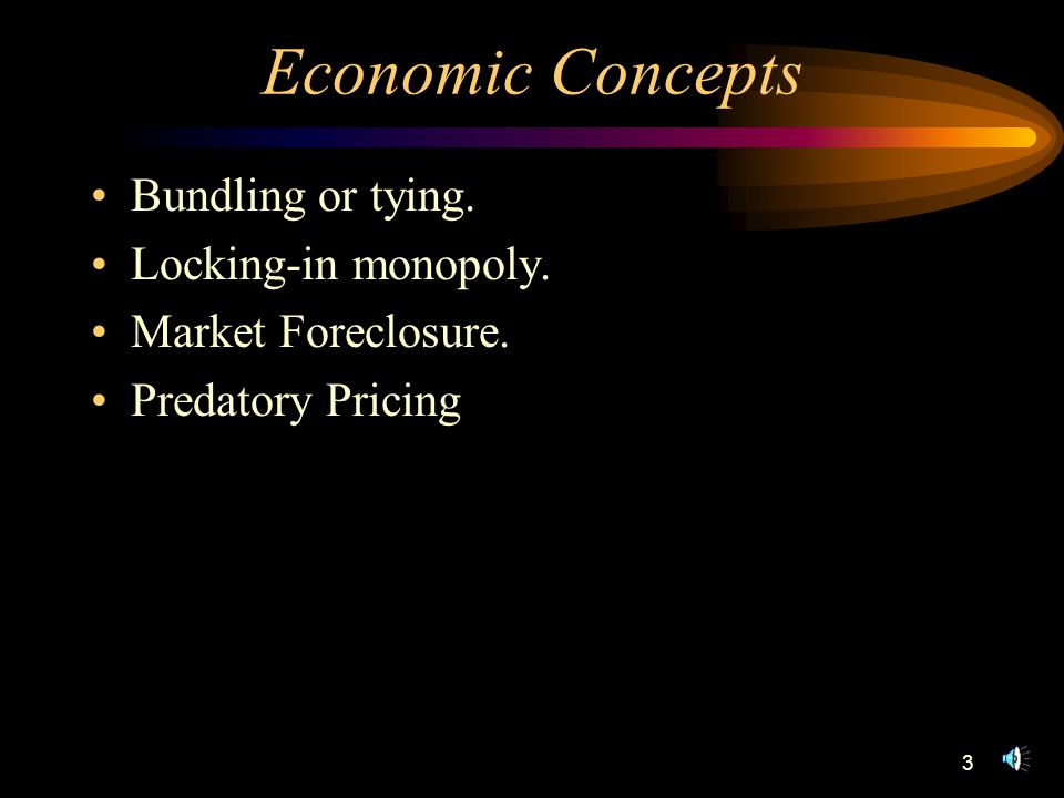 3 Economic Concepts Bundling or tying. Locking-in monopoly. Market Foreclosure. Predatory Pricing