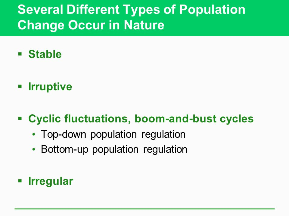 Several Different Types of Population Change Occur in Nature  Stable  Irruptive  Cyclic fluctuations, boom-and-bust cycles Top-down population regulation Bottom-up population regulation  Irregular