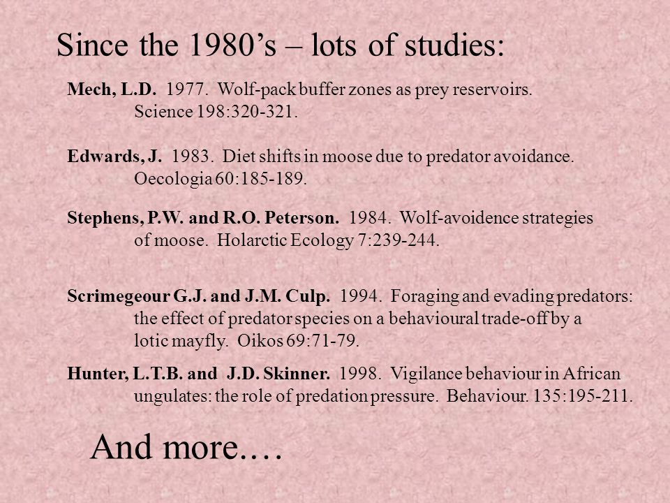 Since the 1980's – lots of studies: Mech, L.D. 1977.