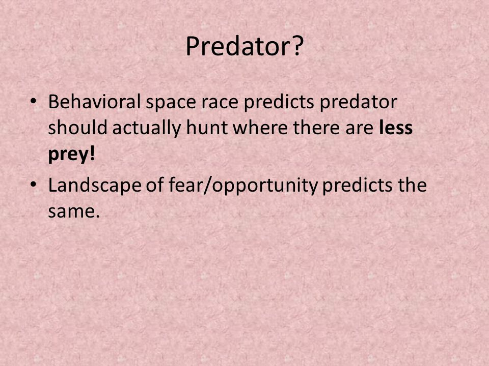 Predator. Behavioral space race predicts predator should actually hunt where there are less prey.