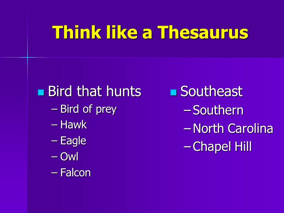 Think like a Thesaurus Bird that hunts Bird that hunts –Bird of prey –Hawk –Eagle –Owl –Falcon Southeast Southeast –Southern –North Carolina –Chapel Hill
