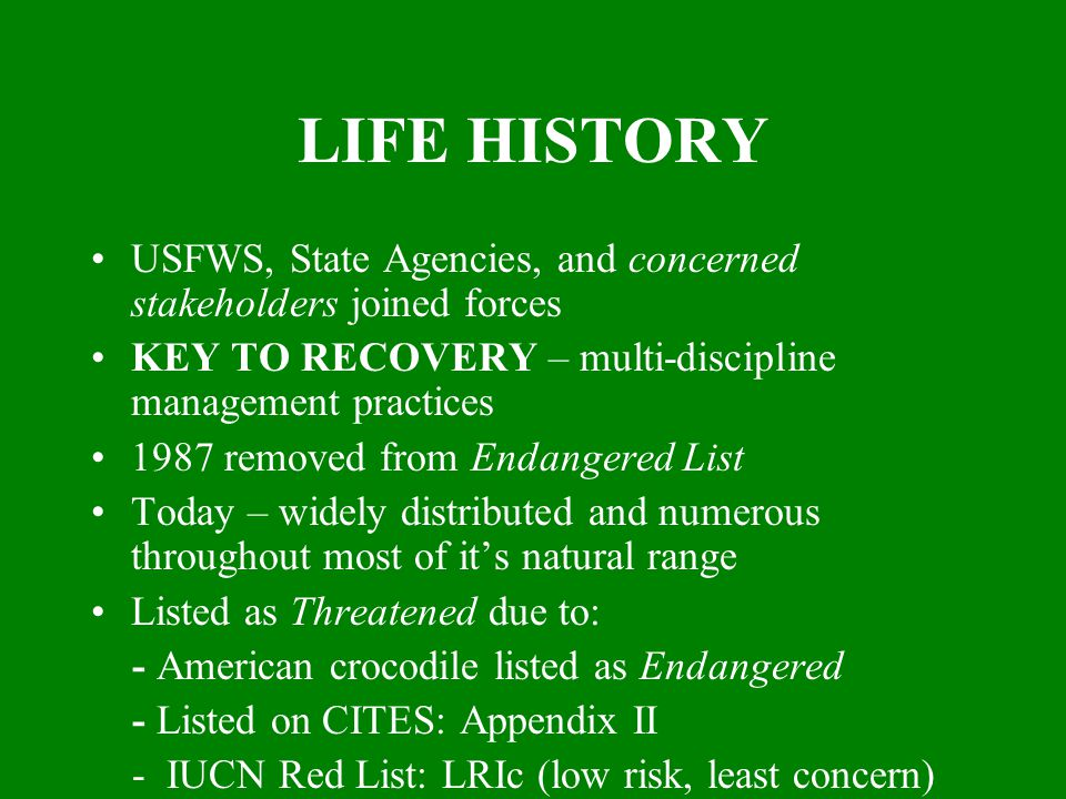 LIFE HISTORY USFWS, State Agencies, and concerned stakeholders joined forces KEY TO RECOVERY – multi-discipline management practices 1987 removed from