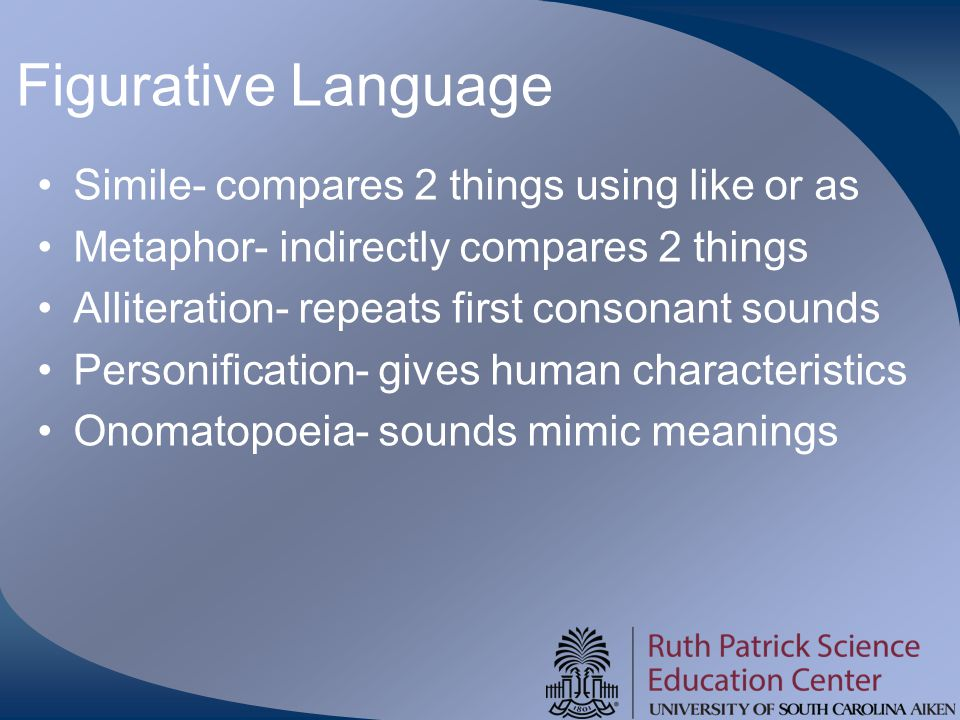 Figurative Language Simile- compares 2 things using like or as Metaphor- indirectly compares 2 things Alliteration- repeats first consonant sounds Personification- gives human characteristics Onomatopoeia- sounds mimic meanings