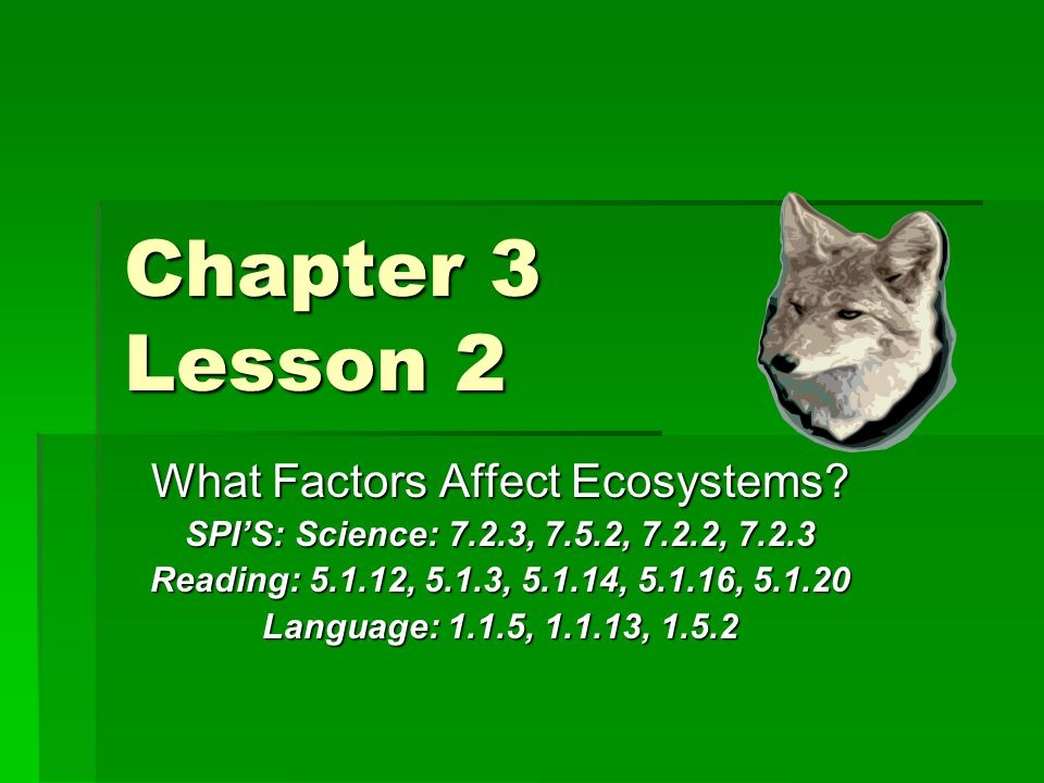 Chapter 3 Lesson 2 What Factors Affect Ecosystems.