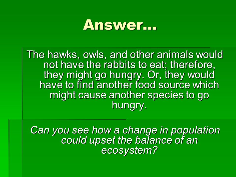 Answer… The hawks, owls, and other animals would not have the rabbits to eat; therefore, they might go hungry. Or, they would have to find another foo