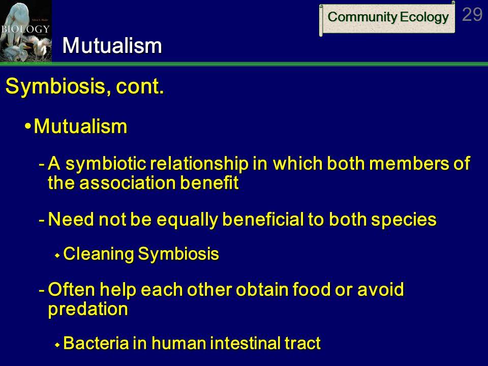Community Ecology 29Mutualism Symbiosis, cont.