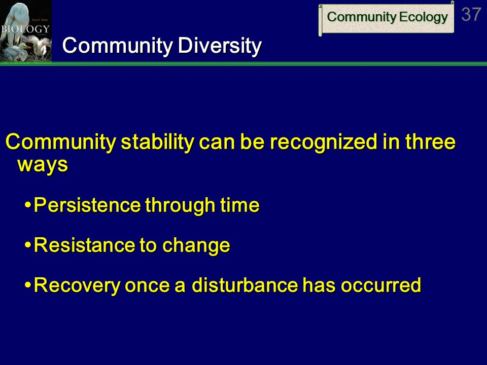 Community Ecology 37 Community Diversity Community stability can be recognized in three ways  Persistence through time  Resistance to change  Recovery once a disturbance has occurred