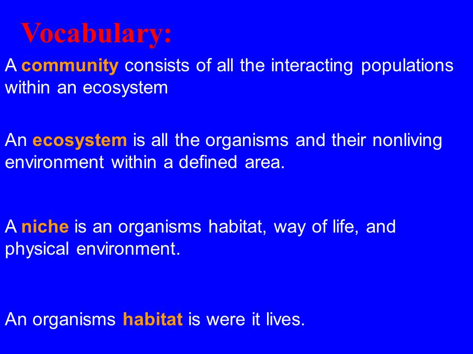 A community consists of all the interacting populations within an ecosystem An ecosystem is all the organisms and their nonliving environment within a