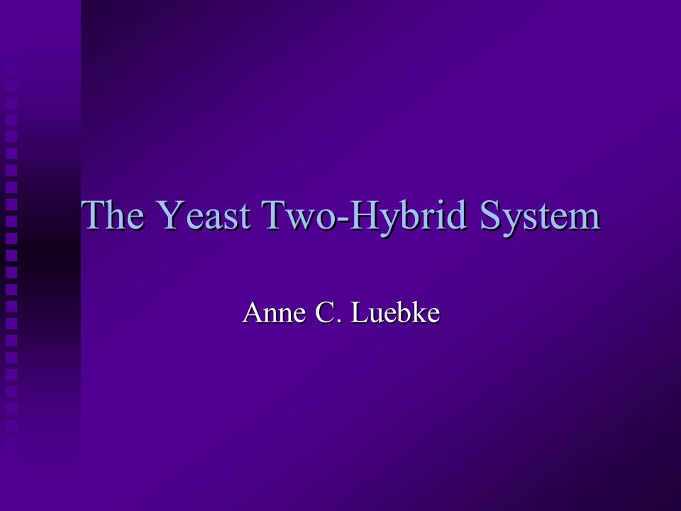 The Yeast Two-Hybrid System Anne C. Luebke