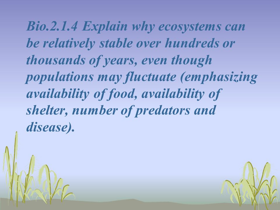 Bio.2.1.4 Explain why ecosystems can be relatively stable over hundreds or thousands of years, even though populations may fluctuate (emphasizing avai