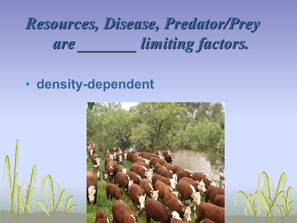 Resources, Disease, Predator/Prey are _______ limiting factors. density-dependent