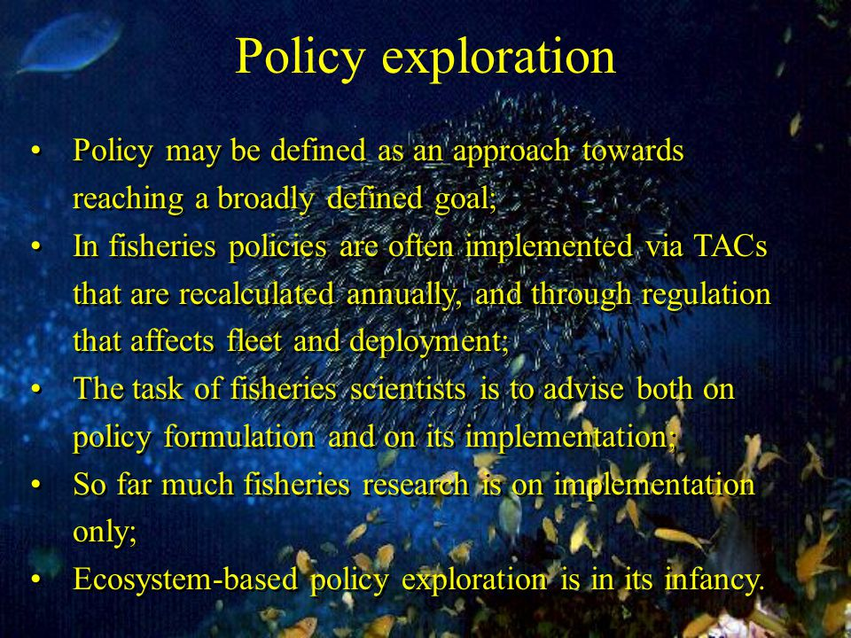 Policy exploration Policy may be defined as an approach towards reaching a broadly defined goal; In fisheries policies are often implemented via TACs that are recalculated annually, and through regulation that affects fleet and deployment; The task of fisheries scientists is to advise both on policy formulation and on its implementation; So far much fisheries research is on implementation only; Ecosystem-based policy exploration is in its infancy.