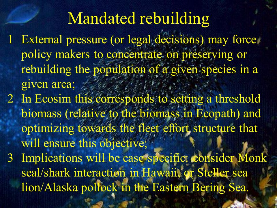 Mandated rebuilding 1External pressure (or legal decisions) may force policy makers to concentrate on preserving or rebuilding the population of a given species in a given area; 2In Ecosim this corresponds to setting a threshold biomass (relative to the biomass in Ecopath) and optimizing towards the fleet effort structure that will ensure this objective; 3Implications will be case-specific: consider Monk seal/shark interaction in Hawaii, or Steller sea lion/Alaska pollock in the Eastern Bering Sea.