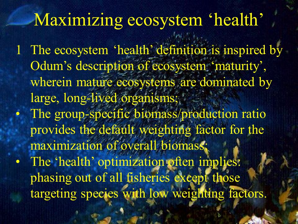 Maximizing ecosystem 'health' 1The ecosystem 'health' definition is inspired by Odum's description of ecosystem 'maturity', wherein mature ecosystems are dominated by large, long-lived organisms; The group-specific biomass/production ratio provides the default weighting factor for the maximization of overall biomass; The 'health' optimization often implies: phasing out of all fisheries except those targeting species with low weighting factors.