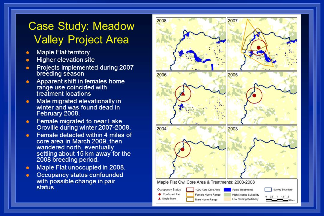 Case Study: Meadow Valley Project Area l Maple Flat territory l Higher elevation site l Projects implemented during 2007 breeding season l Apparent shift in females home range use coincided with treatment locations l Male migrated elevationally in winter and was found dead in February 2008.