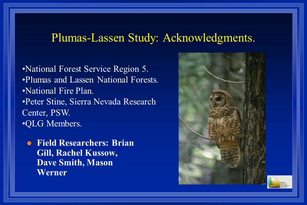 Plumas-Lassen Study: Acknowledgments.