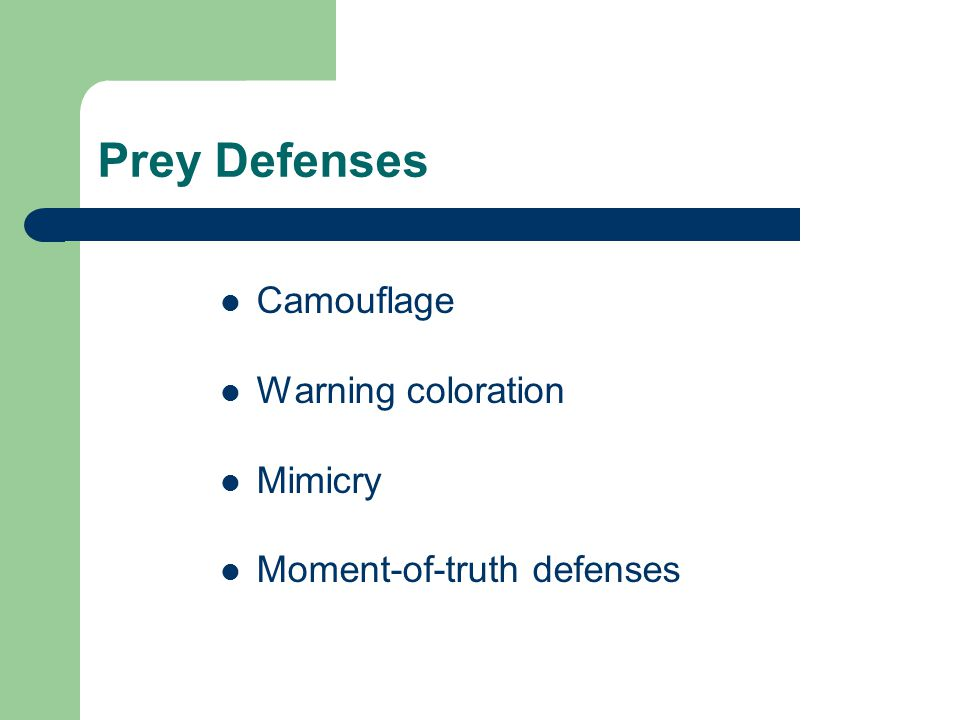 Prey Defenses Camouflage Warning coloration Mimicry Moment-of-truth defenses