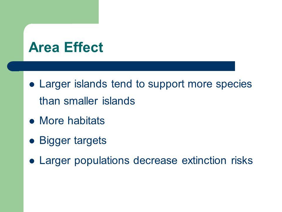 Area Effect Larger islands tend to support more species than smaller islands More habitats Bigger targets Larger populations decrease extinction risks