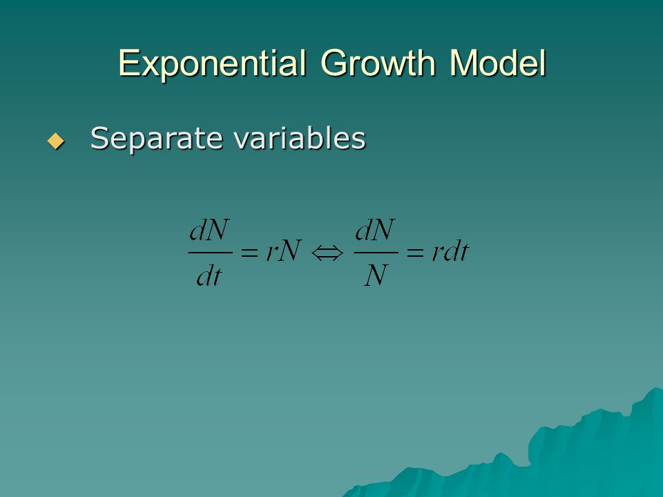 Exponential Growth Model  Separate variables