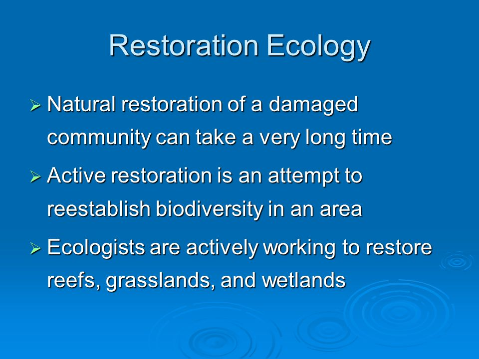 Restoration Ecology  Natural restoration of a damaged community can take a very long time  Active restoration is an attempt to reestablish biodiversity in an area  Ecologists are actively working to restore reefs, grasslands, and wetlands